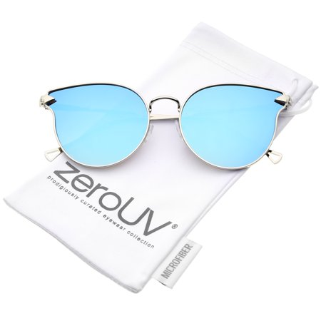 zeroUV - Women's Metal Frame Arrow Temples Colored Mirror Flat Lens Cat Eye Sunglasses - 58mm