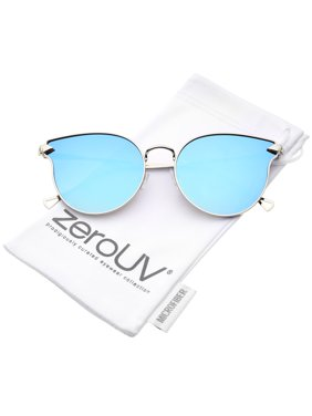 b95d9010fb Product Image zeroUV - Women s Metal Frame Arrow Temples Colored Mirror  Flat Lens Cat Eye Sunglasses - 58mm