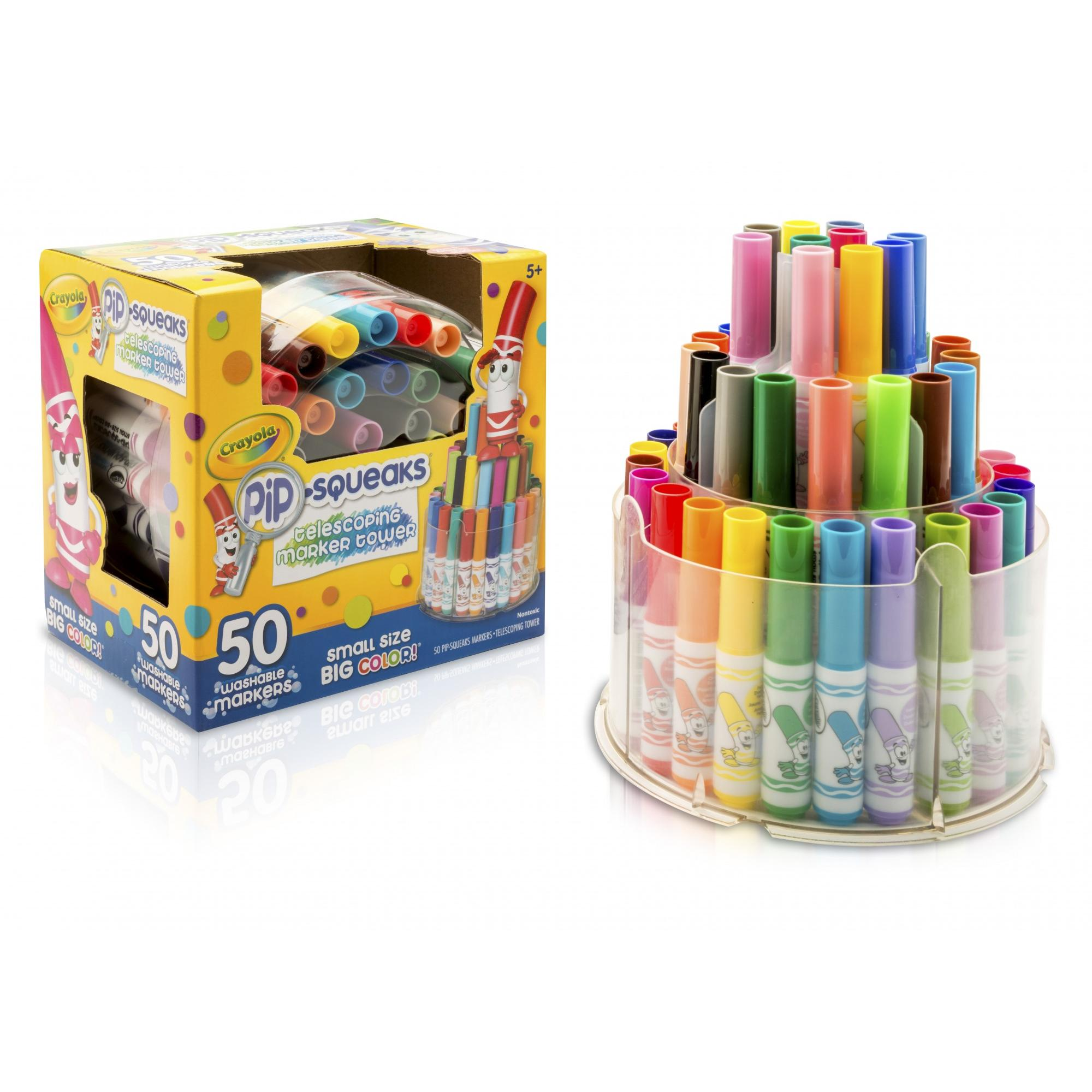 Crayola Pip-Squeaks Washable Markers Telescoping Tower, 50-Count