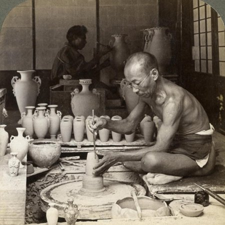 A Potter and His Wheel, Fashioning a Vase of Awata Porcelain, Kinkosan Works, Kyoto, Japan, 1904 Print Wall Art By Underwood & Underwood