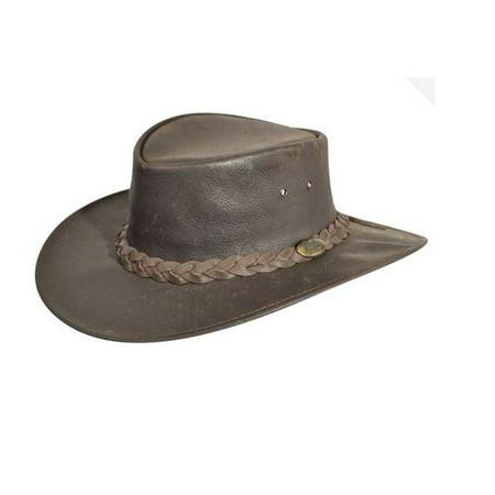 Jacaru Cowboy Hat Mens Bovine Leather Plaited Headband Explorer 1004 - Leather Cowboy Hats