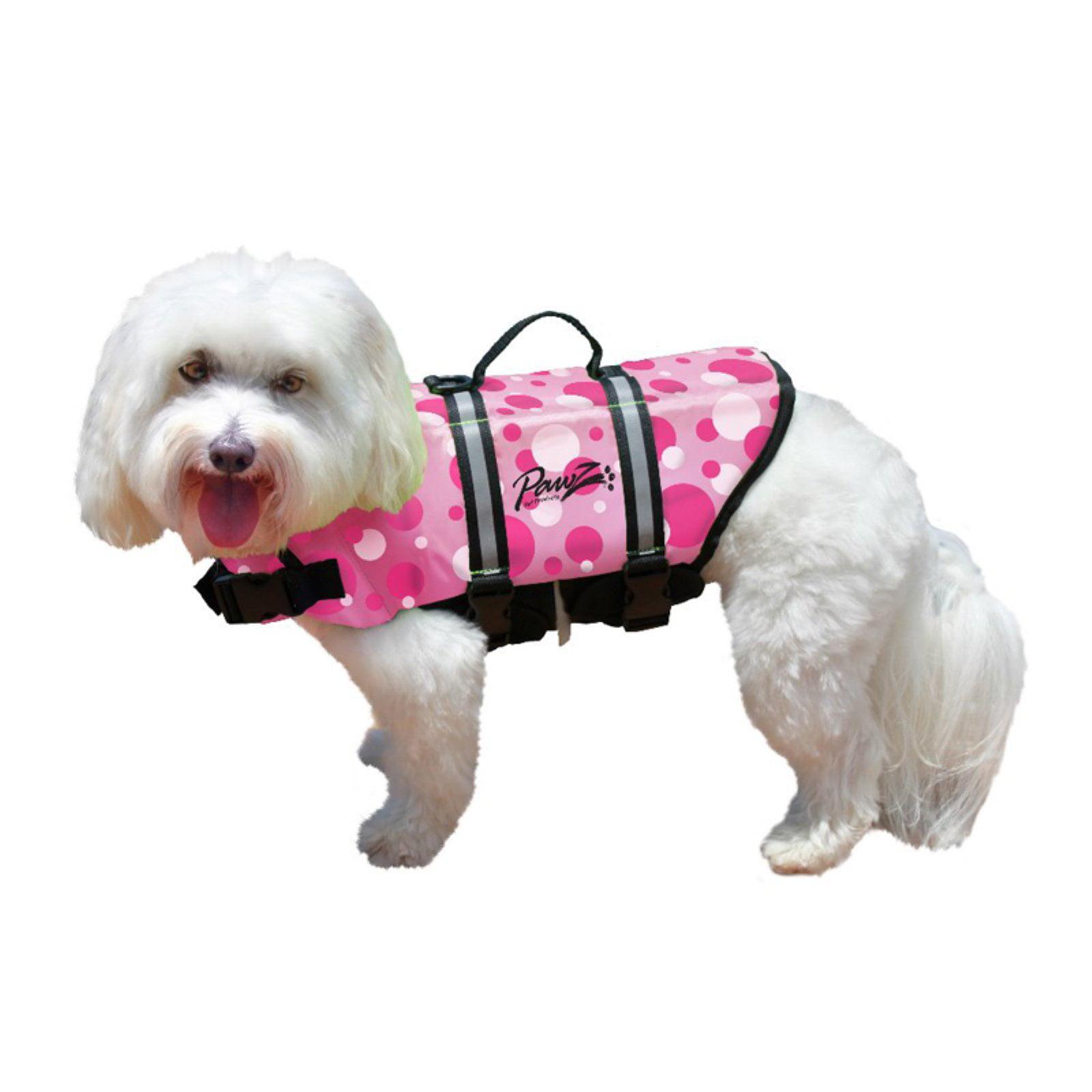 Pawz Pet Products Nylon Dog Life Jacket, Large, Pink Bubbles