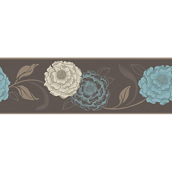 Esme Chocolate, Cream and Teal Peel & Stick Border