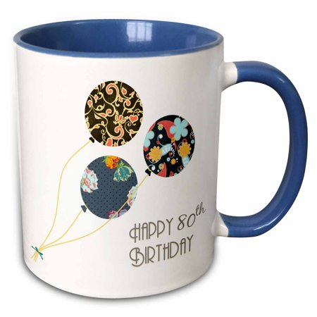 3dRose Happy 80th Birthday - Modern stylish floral Balloons. Elegant black brown blue 80 year old Bday - Two Tone Blue Mug, 15-ounce
