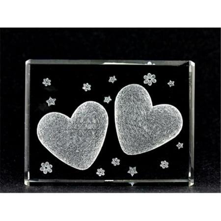 Cristal Asfour 1162-70-09 2,75 L x H x 2 1 W en cristal grav- au laser deux coeurs d'amour et de coeurs d-coup-s au laser. - image 1 de 1