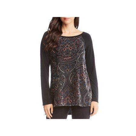 Karen Kane Womens Velvet Burnout Pullover Top (Brand Names Of Clothing That Start With G)