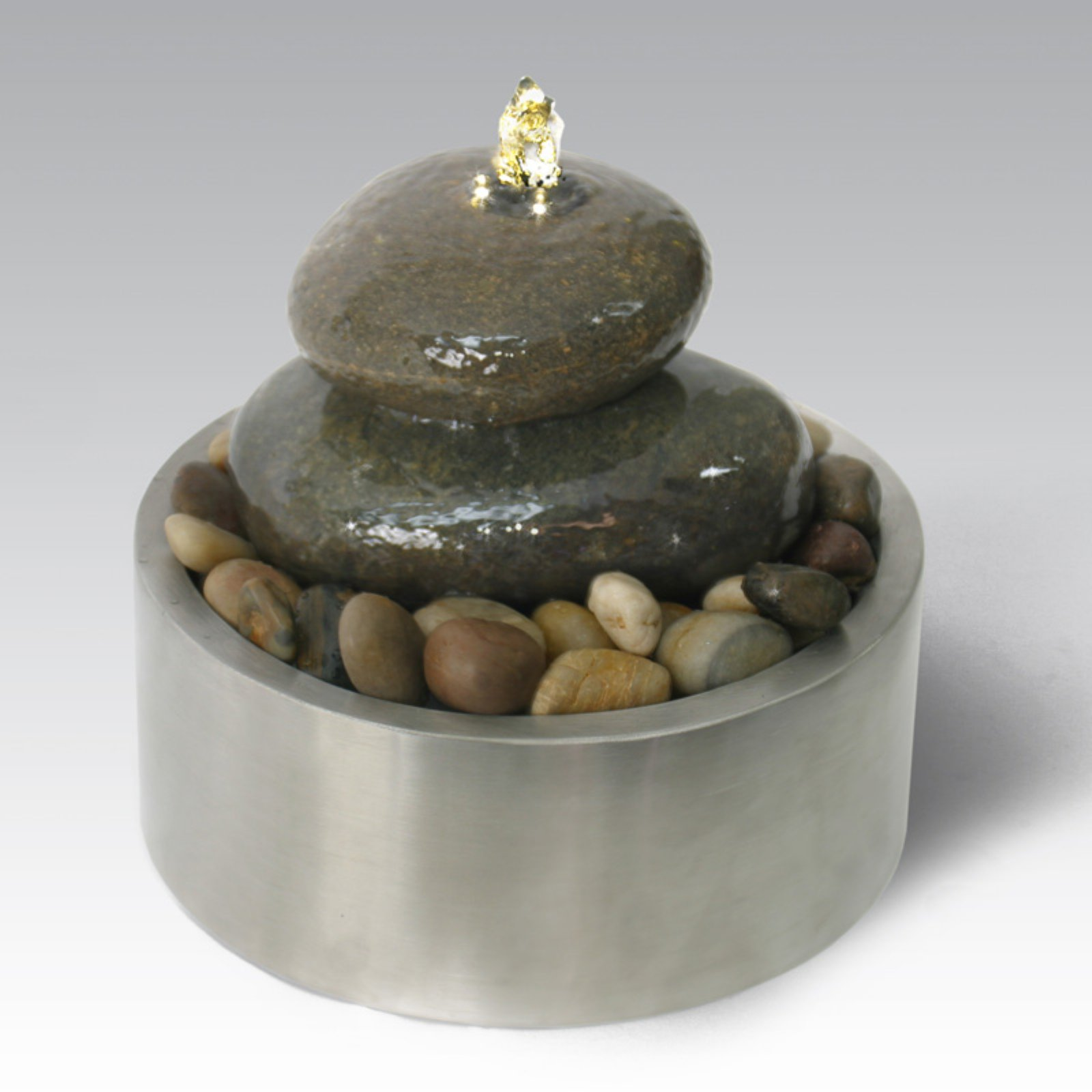 Algreen Illuminated Relaxation Outdoor Fountain with Authentic River Rocks and Stainless Steel Base - Gray