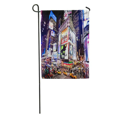 LADDKE City New York January 6 Illuminated Facades of Broadway Theaters on 2011 in Times NYC Night Garden Flag Decorative Flag House Banner 12x18 inch](Halloween Store Broadway Nyc)
