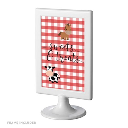 Red Farmhouse Barnyard Birthday, Framed Party Sign, Double-Sided 4x6-inch, Sweets & Treats, Includes Reusable Frame