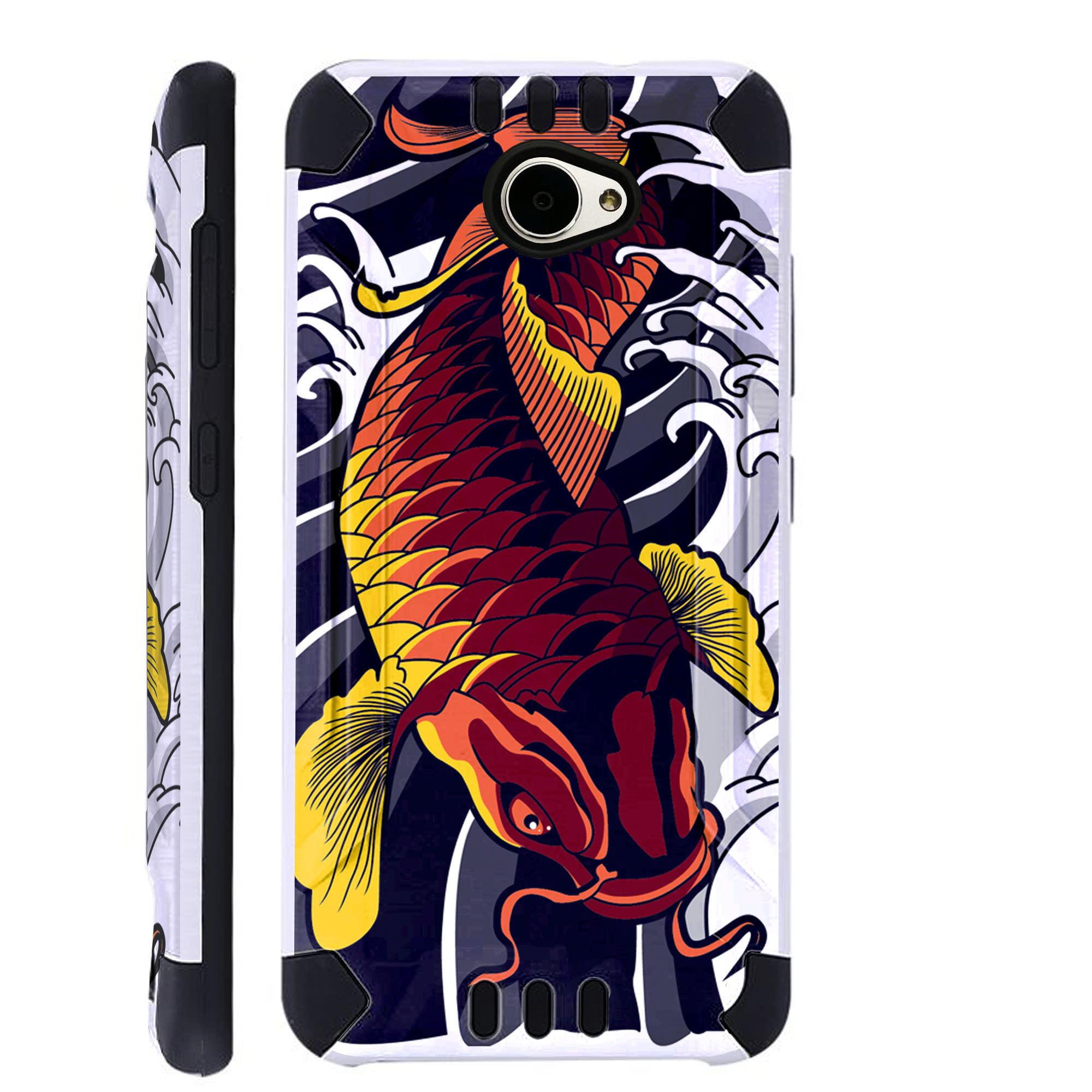 For Huawei Ascend XT2 / Huawei Ascend XT 2 / Huawei Elate 4G Case Brushed Metal Texture Hybrid TPU KombatGuard Phone Cover (Red Koi Fish)