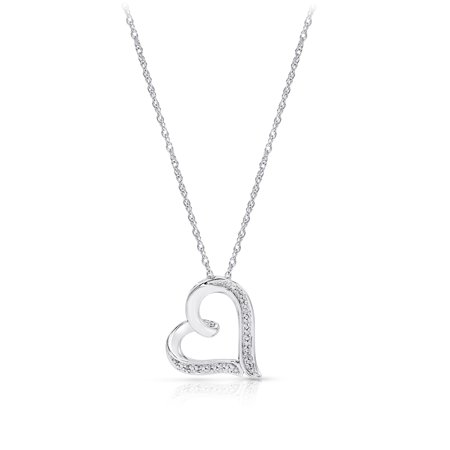 Diamond Accent Heart Pendant, 14kt White Gold