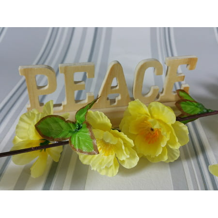 Peel-n-Stick Poster of Flowers Hope Peace Background Decoration Wood Poster 24x16 Adhesive Sticker Poster Print (Peace Decorations)