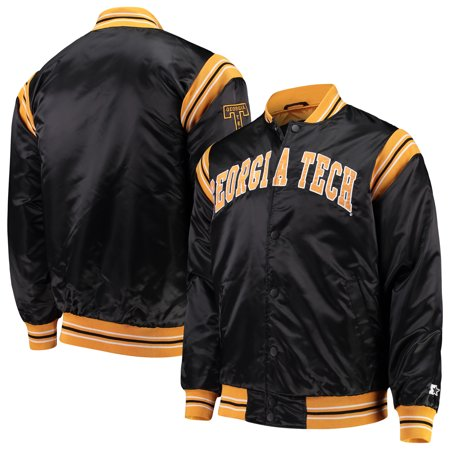 Georgia Tech Yellow Jackets Starter The Enforcer Satin Full-Button Jacket - Black ()