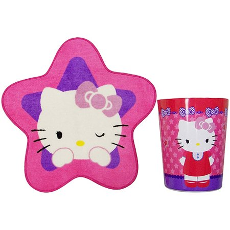hello kitty 2pc waste can and bath rug set. Black Bedroom Furniture Sets. Home Design Ideas