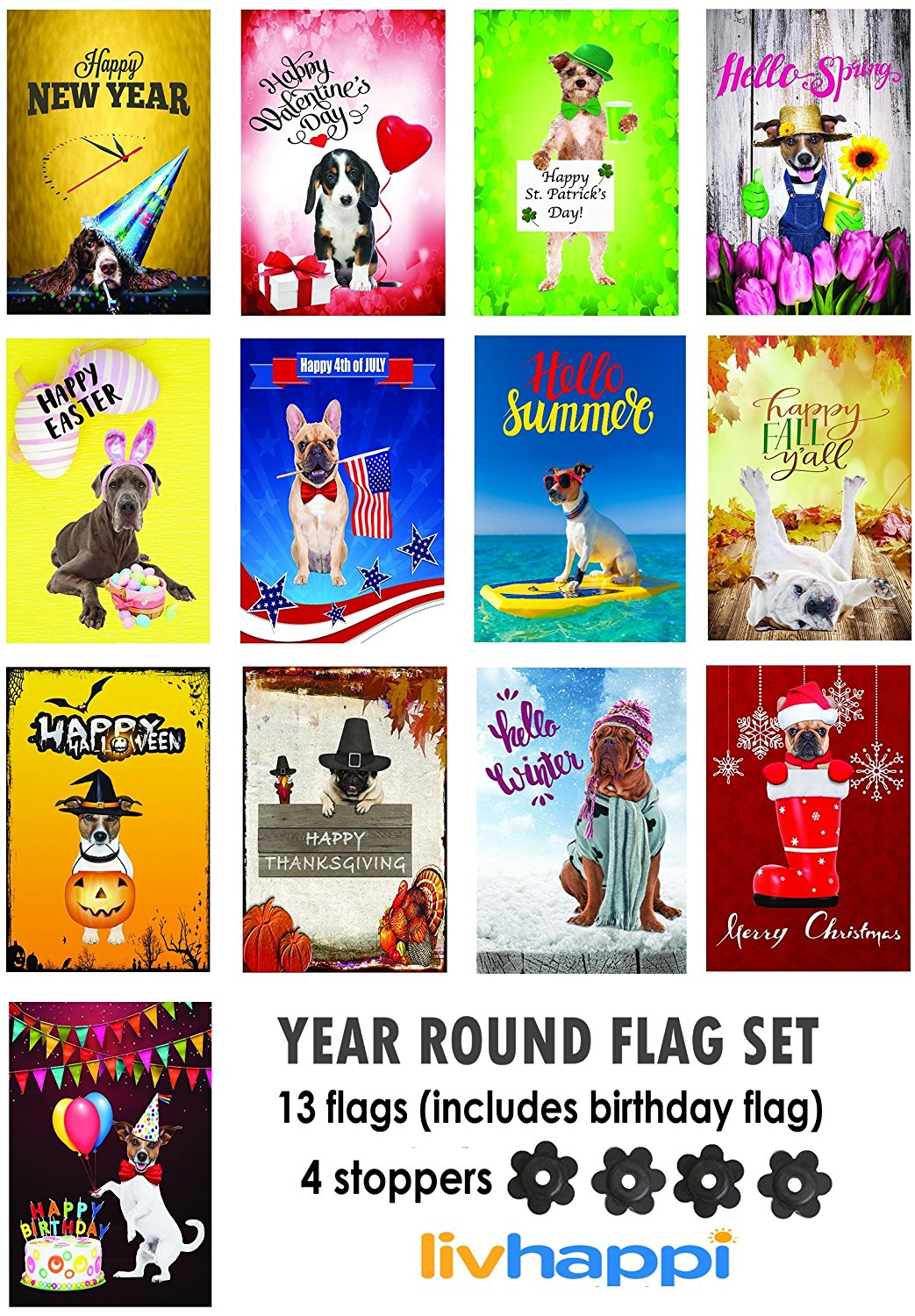 LivHappi Seasonal Outdoor Garden Flag 13 Flags 12 X 18 Size Double Sided  Decorative Dog Flags Yard And Lawn Decorations For All Weather