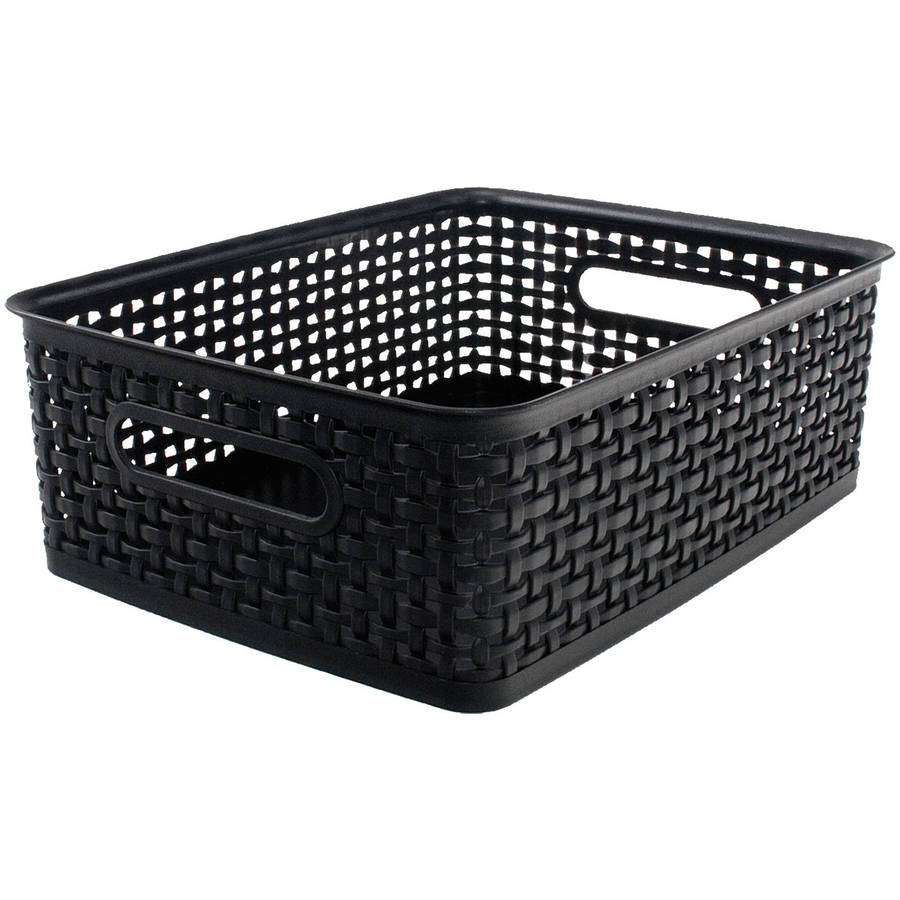"Weave Design Plastic Bin Medium, Black, 13.75""L x 10.5""W x 4.625""H"