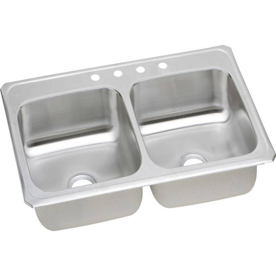 Elkay CR43224 Gourmet Celebrity Stainless Steel Double Bowl Top Mount Sink with 4 Faucet Holes
