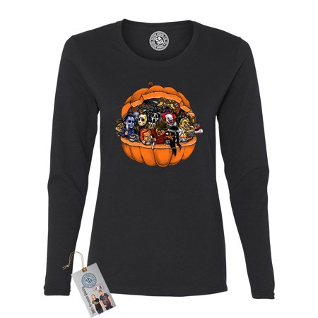 Pumpkin Halloween Scary Characters Womens Long Sleeve T Shirt - Halloween Pumpkin T Shirt