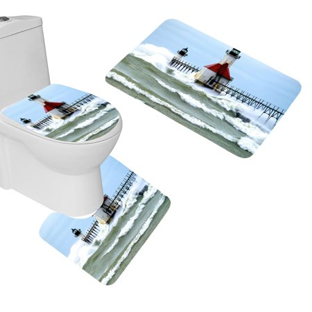 GOHAO Sea Beach Lighthouse 3 Piece Bathroom Rugs Set Bath Rug Contour Mat and Toilet Lid Cover (Beach Bath Rugs Set)