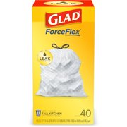 Glad Tall Kitchen Trash Bags, 13 Gallon, 40 Bags (ForceFlex, Unscented)