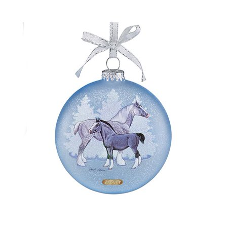 Breyer Holiday Collection #700821 Artist Signature Glass Ornament Draft Horses - New factory - Artist Ornament
