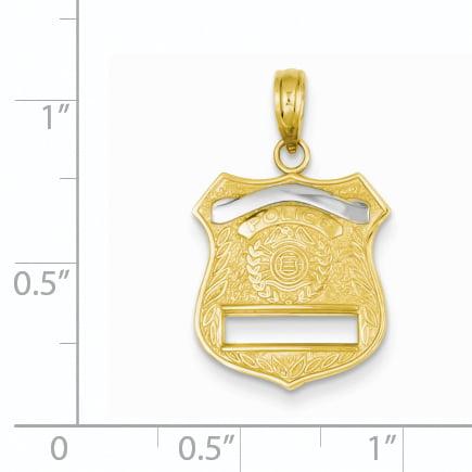 14K Rhodium Plated Yellow Gold & Rhodium Police Badge Pendant - image 1 of 2