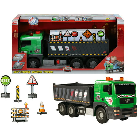 Dickie Toys Majorette Pump Action Dump Truck with Accessories
