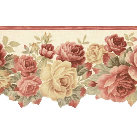 877060 Diecut Floral Rose Wallpaper Border