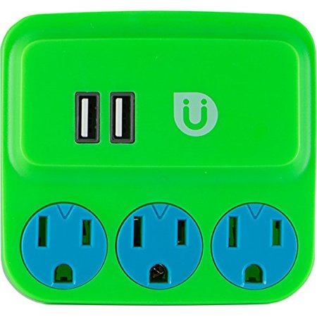 Uber 3 Outlet Power Tap With Usb Charging  Green Blue   25113