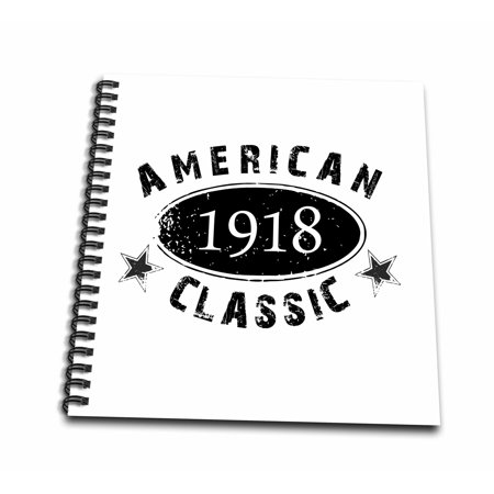 3dRose 1918 American Classic - Personalized Birth Year Birthday gift - black grunge vintage look - funny - Mini Notepad, 4 by 4-inch