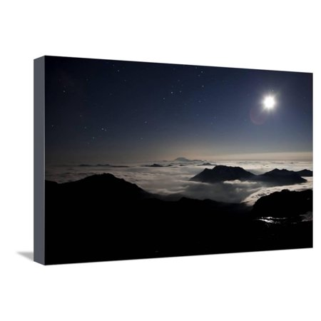 Moon Sand Stars Shine Above Low Lying Clouds on Mount Rainier National Park Stretched Canvas Print Wall Art By Dan Holz (Holz Brillenetui)