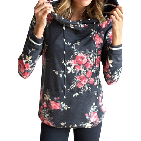 Starvnc Woman Long Sleeve with Pocket Floral Print Pullover Hoodie
