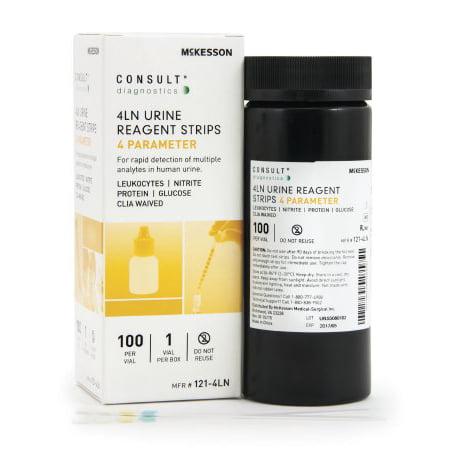 McKesson Consult Urine Reagent Strip Leukocytes, Nitrite, Protein, and Glucose, Case of (Urine Test Strips For Glucose And Protein)