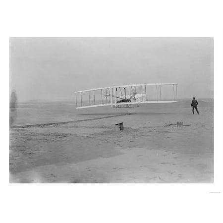 Flight Photo - Orville Wright on First Flight at 120 feet Photograph - Kitty Hawk, NC Print Wall Art By Lantern Press