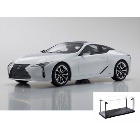 Diecast Car & LED Display Case Package - Lexus LC500 Hard Top, White - Kyosho KSR18024W - 1/18 Scale Resin Model Toy Car w/LED Display Case Kyosho Motor Case