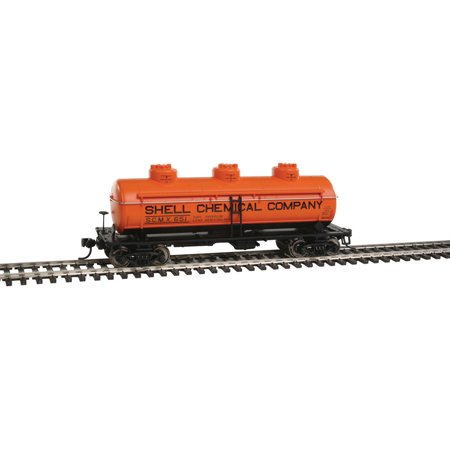 Chemical Tank Car - Walthers HO Scale 36' 3-Dome Tank Car Shell Chemical Co./SCMX #651 (Orange)
