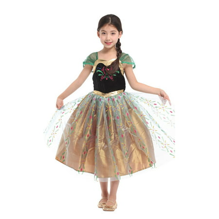 Girls' Snow Frosted Princess Anna Dress-Up Costume Set, M