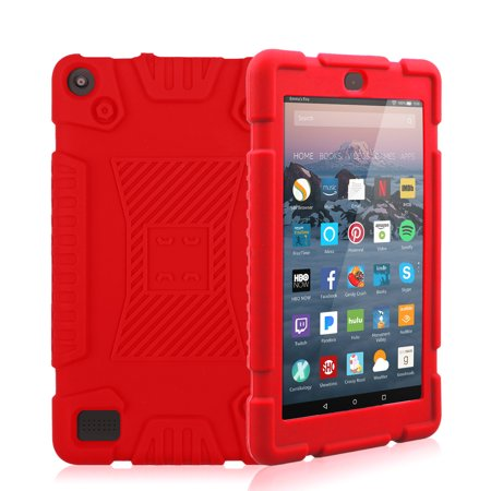 TSV Shockproof Soft Silicone Rugged Case Cover for Amazon Kindle Fire 7 2017 7th (Case Logic Kindle)