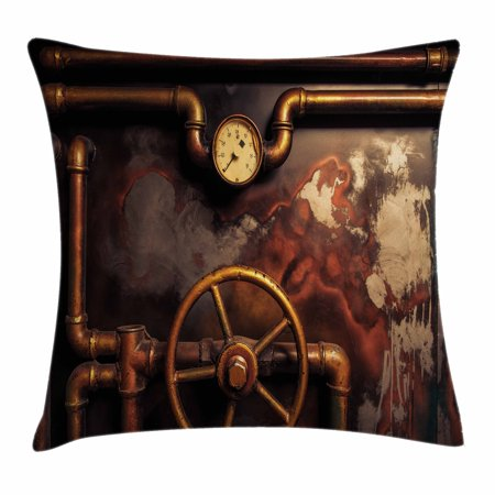 - Industrial Decor Throw Pillow Cushion Cover, Steam Pipes and Pressure Gauger Vintage Damaged Timeworn Engine, Decorative Square Accent Pillow Case, 18 X 18 Inches, Gold Cinnamon White, by Ambesonne