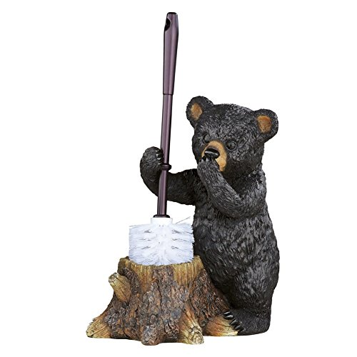 Collections Etc Woodland Bear Toilet Brush Holder