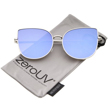 zeroUV - Oversize Slim Metal Frame Colored Mirror Flat Lens Cat Eye Sunglasses - 58mm](Coloured Halloween Contact Lenses)
