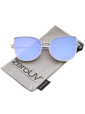 79e55fc82a Product Image zeroUV - Oversize Slim Metal Frame Colored Mirror Flat Lens Cat  Eye Sunglasses - 58mm