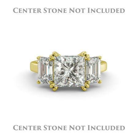 Emerald Semi Mount Ring - Asscher Semi Mount 3 Stone Engagement Ring Emerald Real Diamond 14k Yellow Gold