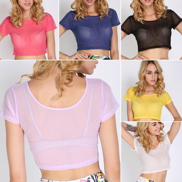 EFINNY Women's Blouse Sexy Sheer Mesh Tops See Through Crop Tops Party Club Shirt