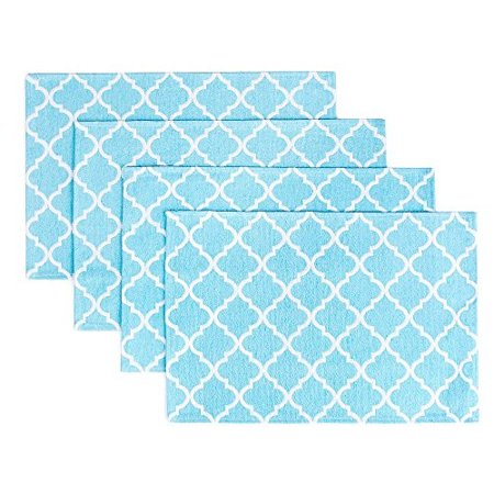 Living Fashions Placemats for Dining Table Set of 4 - Durable Place Mats - Woven Cloth Geometric Quatrefoil Placemat - Kitchen Decorations Theme Sets in Teal Blue - Dining Room Decor - Size 13