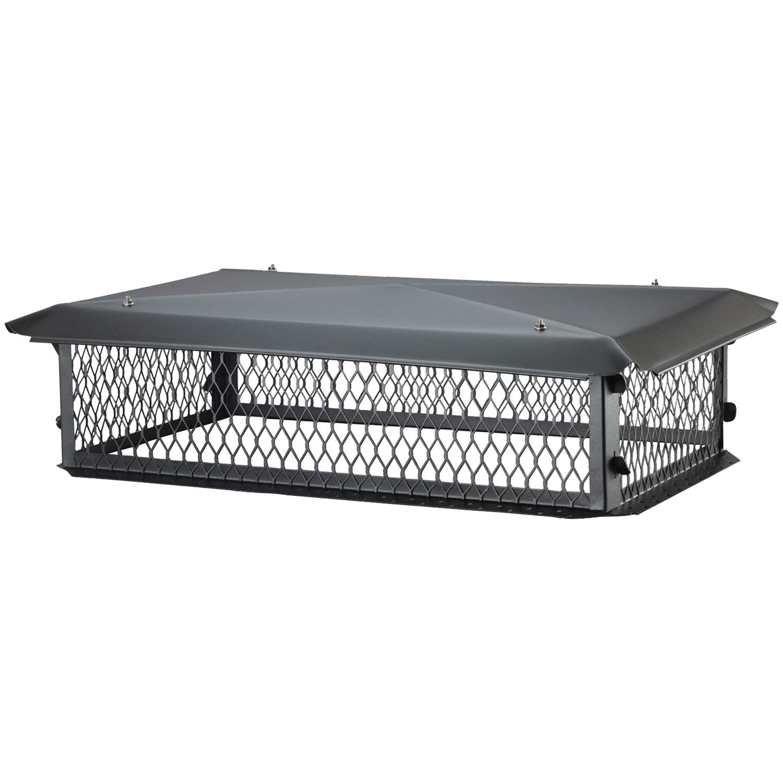 Big Top Multi Flue Chimney Cap Black Galvanized Steel 30 in x 14 in Durable Mesh
