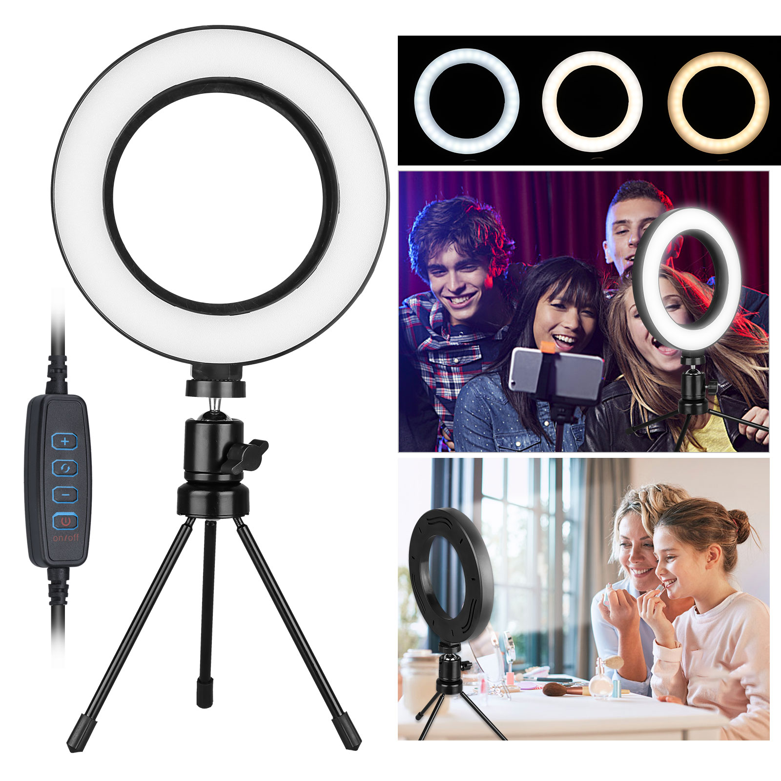 10-Inch Ring Fill Light Tripod Desktop Mobile Phone Stand Led Tri-Color Brightness Beauty Ring Light 360 /° Rotation,B
