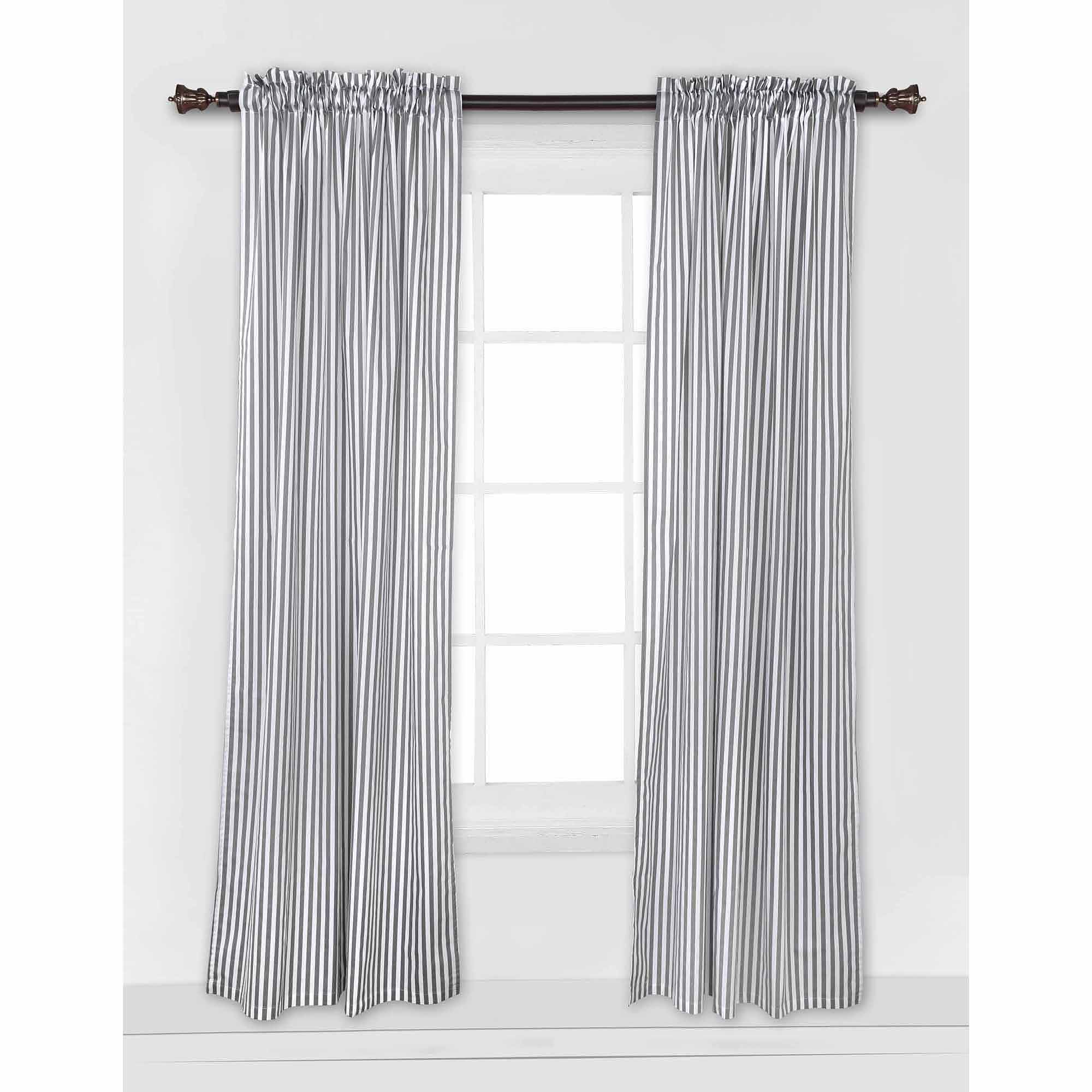 Bacati - MixNMatch Pin Dots Curtain Panel 42 x 84 inches 100% Cotton Percale Fabrics, Gray
