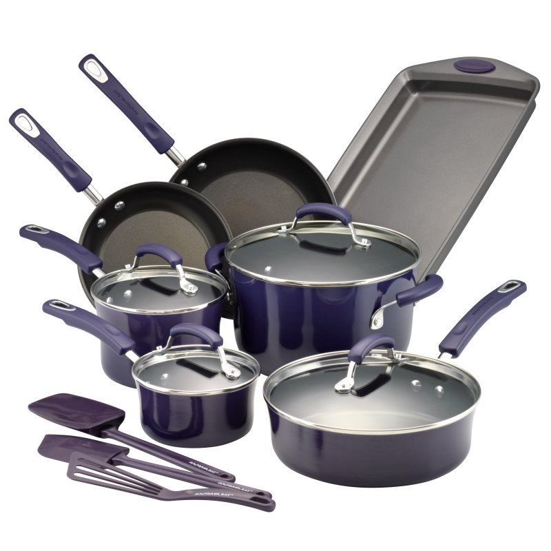 Rachael Ray Hard Porcelain Enamel Nonstick 14-Piece Cookware Set, Purple Gradient