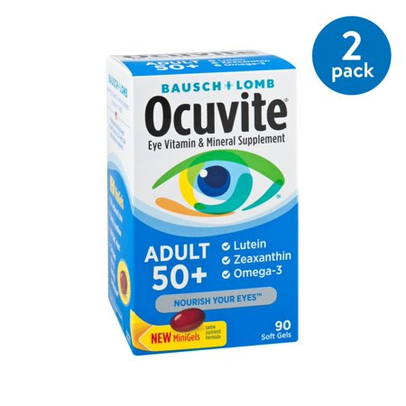 (2 Pack) Bausch & Lomb Ocuvite Adult 50+ Vitamin & Mineral Supplement Soft Gels, 90